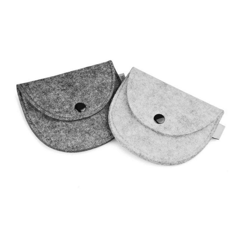 Mini Organizer Fashion Organization Dumpling Shape Felt Storage Bags Pouch Accessories Package For Coin Bill Money Earphone(China (Mainland))