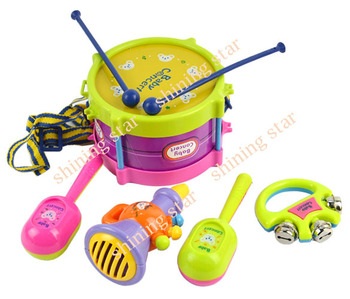 Free shipping Kids Children Toy Gift Set 5pcs Roll toy Drum Musical Instruments Band Kit 30
