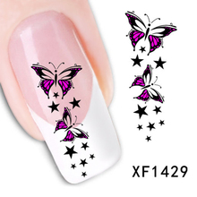 1 Sheet Colorful Butterfly Star Nail Tips Water Decals Art Stickers Nail Sticker Decoration XF1429 Brand New Safe And Non-toxic(China (Mainland))
