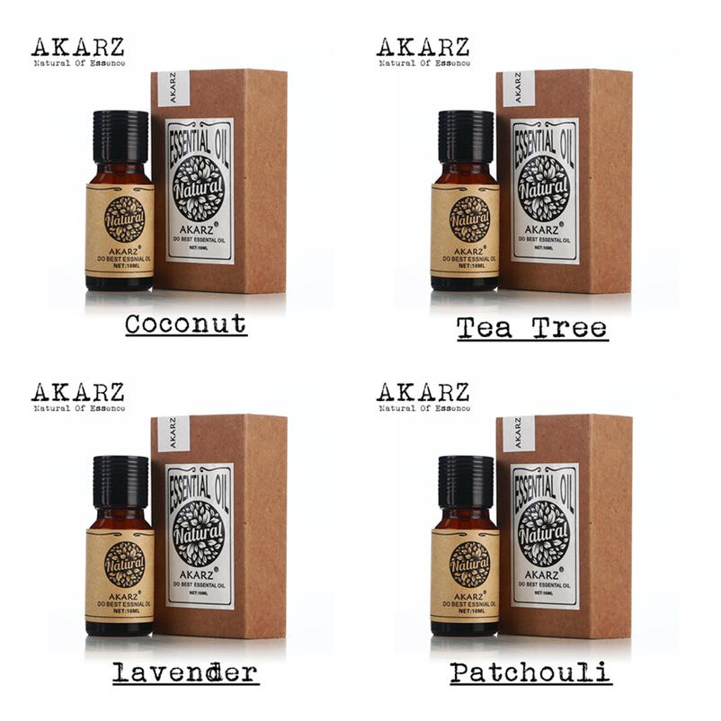 AKARZ Famous brand 100% Pure coconut tea tree lavender patchouli Essential Oil Pack Aromatherapy, Massage Spa Bath 4pcs/lot(China (Mainland))