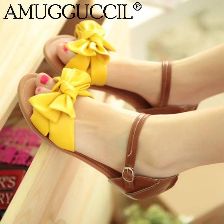2017 New Plus Big Size 31-45 Blue White Green Red Pink Yellow Orange Bowtie Casual Girls Lady Summer Women Flats SandalsL785(China (Mainland))
