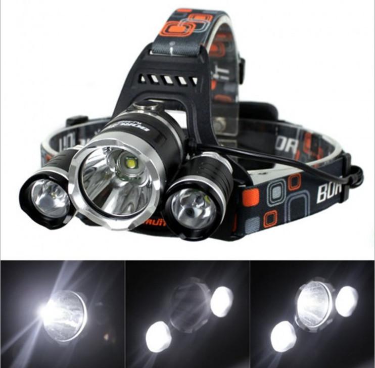 Linterna frontal LED Headlamp 5000 Lumens Head lamp T6 3 LED Headlight head torch edc flashlight 18650 Rechargeable battery pack(China (Mainland))