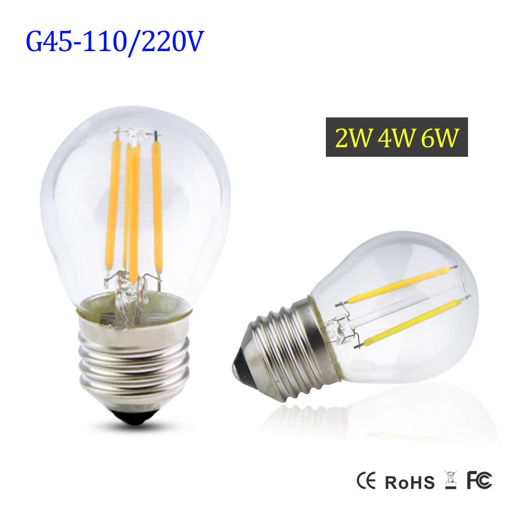 110V 220V LED Light E27 Lampada led 2W 4W 6W Filament Lights Bulbs Energy Saving Glass Cover focos led G45 COB LEDs Lamp(China (Mainland))