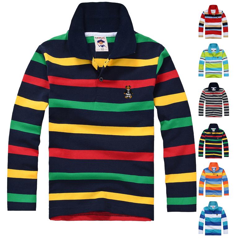 High Quality Boys T shirts Long Sleeve Children Sweaters Kids Polo Shirt Cotton Stripe Brand Girls T-Shirts(China (Mainland))