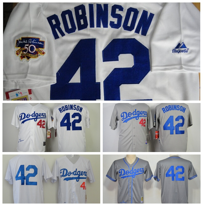 New Los Angeles Dodgers Baseball Jerseys Cheap 1955 #42 Jackie Robinson Jersey Throwback M&N jerseys White Cream grey black(China (Mainland))