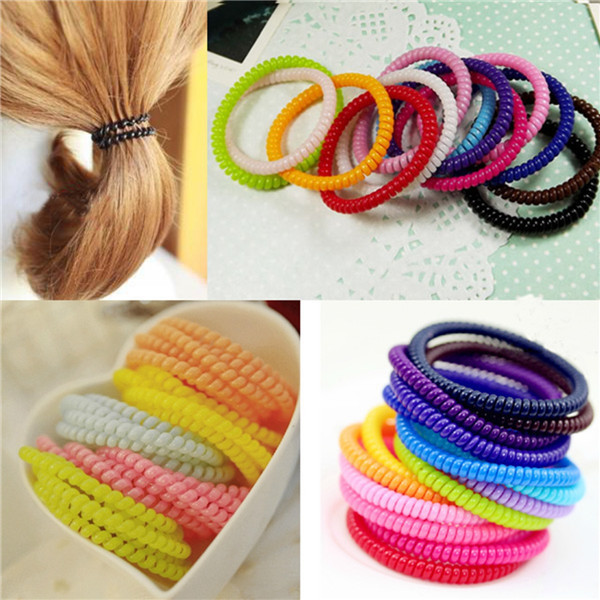 10pcs/lot Girl Baby Women Telephone Line Gum Black Candy Elastic Hairband Hair Band Rope Scrunchy Styling Tools Accessories(China (Mainland))
