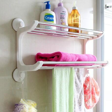 Strong Suction Cup Double Layer Shelf Stainless Steel Towel Rack Organizer Bathroom Wall Shelf Storage Rack. Towel Storage Shelves Promotion Shop for Promotional Towel Storage