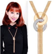 New Arrival Long Necklaces Gold Tassel Necklace Trendy Zinc Alloy Statement Necklace Rhinestone Necklaces For Women Jewelry(China (Mainland))