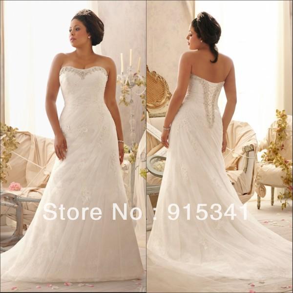 Classic A-line Strapless Appliques Tulle Lace up Back Customize Plus Size Wedding Bride Dress 2014()