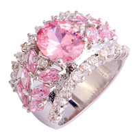 Bobemia Variety Saucy Girls Pink Sapphire 925 Silver Ring Measurement 7 eight 9 10 New Vogue Jewelry Present Free Transport Wholesale