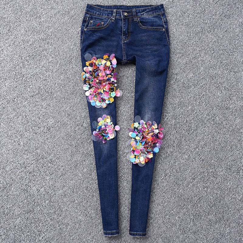2017 Spring New Beading Jeans Woman Mid Waist Long Pencil Pants Colorful Sequins Scratched Blue Denim Trousers Jeans Femme(China (Mainland))