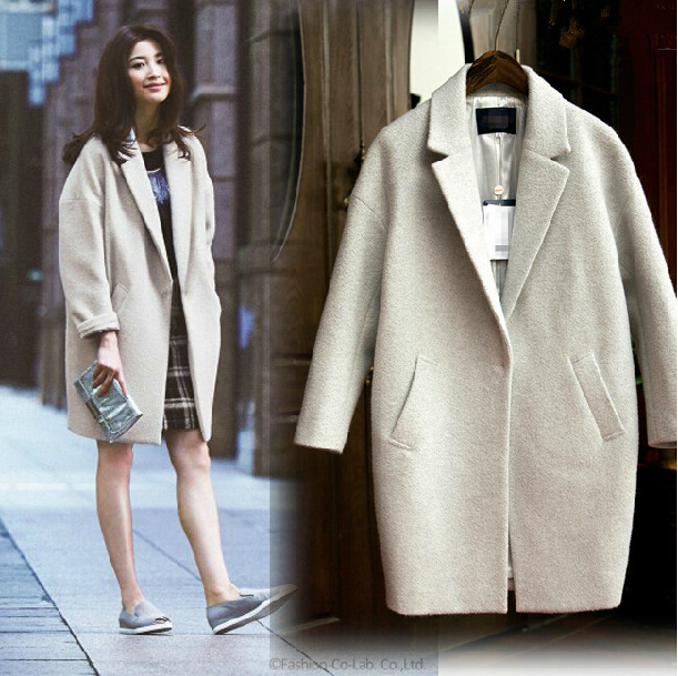 Brand New 2015 Women Autumn Winter Wool Coats And Jackets Drop-shoulder Wide-waisted Korean Long Gray Coat White Warm JacketОдежда и ак�е��уары<br><br><br>Aliexpress