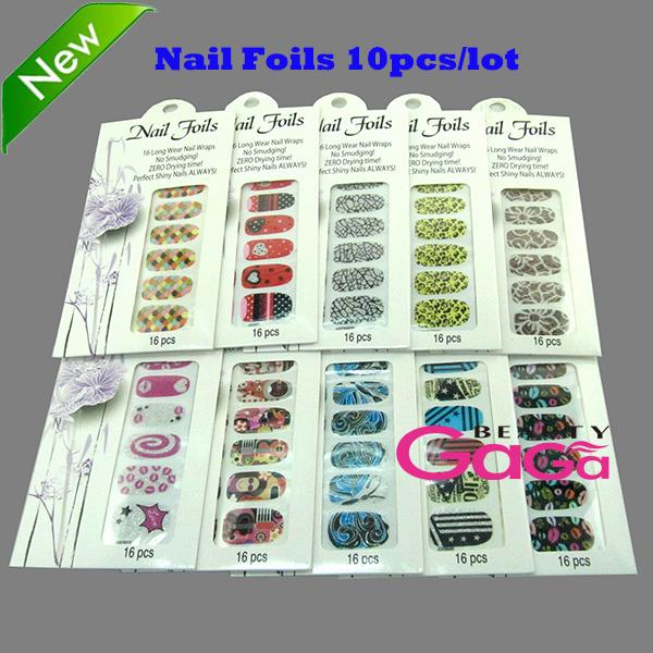 Beauty Care 10 unique designs 10pcs/lot Adesivos Personal & Salon Minx Nail Decals Fingernail Tattoo Nail Art Foils Nail Sticker(China (Mainland))