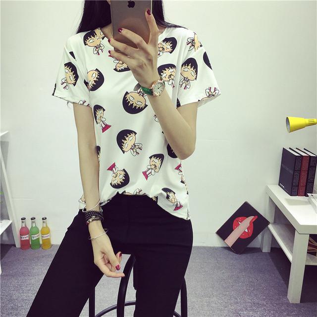 2016 женщин летняя футболка одежда о-образным вырезом Chibi Maruko шин-чан напечатаны короткий дна топы бесплатная доставка