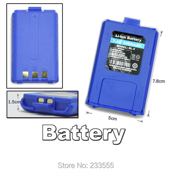 NEW Bule 7.4V 1800mAh Original Li-ion Rechargeable Battery Pack Exclusively for Baofeng UV-5R Dual Band Walkie Talkie(China (Mainland))
