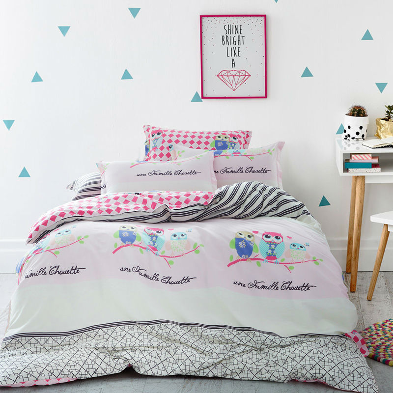 New Arrival hot sale 100% Cotton Bedding sets Cute Cartoon Owl home textile 4 pcs Queen size For children kids(China (Mainland))