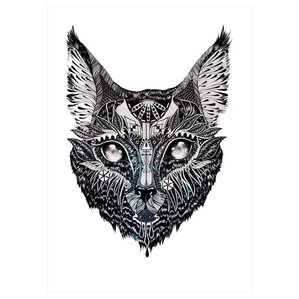 1pc Flower Arm Tattoo Sticker Water Transfer Temporary Design KM-017 Indian Cat Head Pattern Design Beauty Women Body Art Tattoo (2)