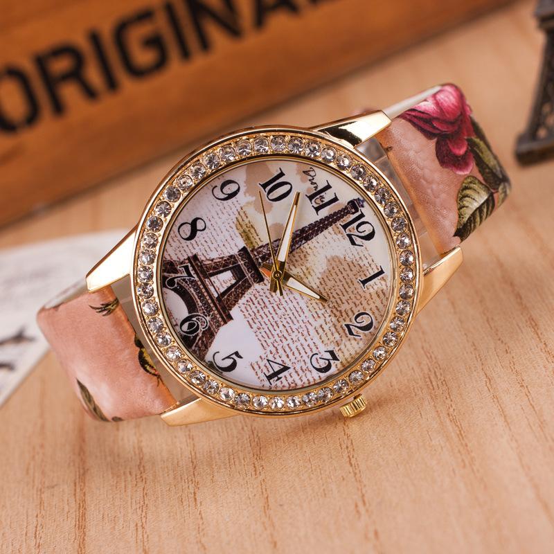 Women rhinestone watches Retro Crystal The Eiffel Tower Watch Women Ladies Fashion Dress Quartz Wristwatches
