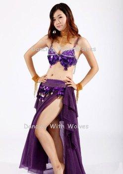 3pcs/ Lots Belly Dance 3pcs Set: Grape Bra + Ear Skirt + Hip scarf