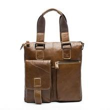 Genuine Leather men bags vintage business leather briefcase men's Briefcase men travel bags tote laptop bag hot sale man bag(China (Mainland))