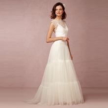 Buy 2017 Romantic Bohemia Tulle Wedding Dresses Sheer Back Summer Beach Lace Bridal Gown Cap Sleeve High Neck vestido de noiva for $101.08 in AliExpress store