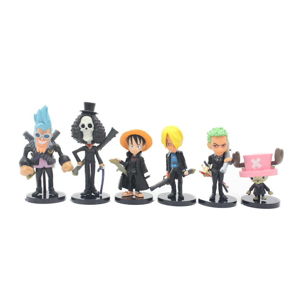 Black version 8CM 6pcs/set One Piece New World Anime Figuarts SPECIAL MH POP Luffy Figuarts luffy zoro nami Action Figure Limit(China (Mainland))