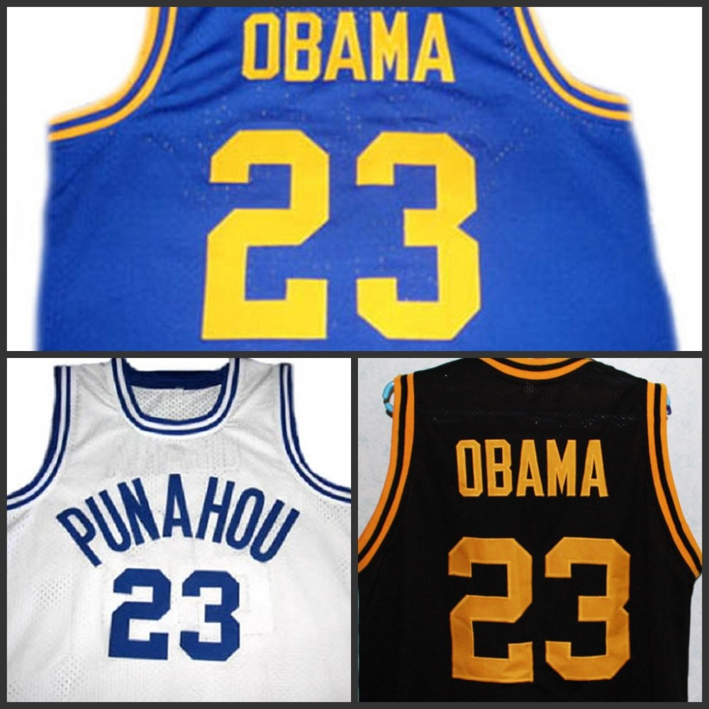 Barack OBAMA #23 Punahou High School RETRO THROWBACK VINTAGE basketball jerseys,SEWN mens cheap embroidery and stitced jersey(China (Mainland))