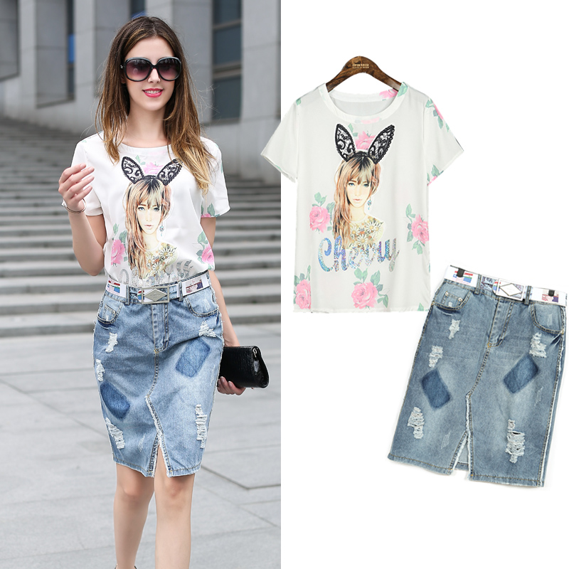 2016 Summer New Large Size Women in Europe and America Fashion Printed Characters Slim Denim Skirt Suit BO92Одежда и ак�е��уары<br><br><br>Aliexpress