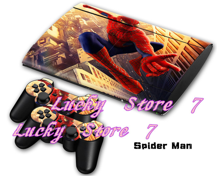 2 types Spider Man Skin Cover Sticker for PS3 console + 2Pcs Controller Skin Console Stickers for PS3 Protective Skin(China (Mainland))