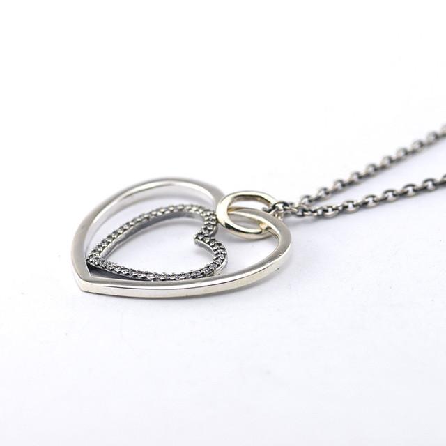 100% серебро 925 ювелирных изделий от сердца к сердцу проложить CZ ожерелье длина цепи 90 см для женщин DIY мода ювелирных изделий