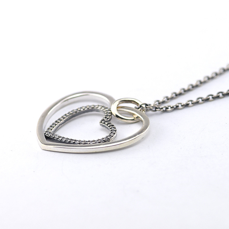 100% Silver 925 Jewelry Heart to Heart Pave CZ Pendant Necklace Chain Length 90CM Necklace For Women DIY Fashion Jewelry(China (Mainland))
