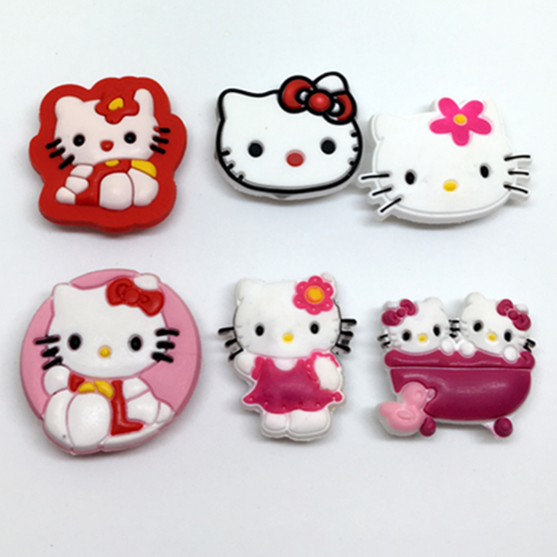 Hot 6PCS Hello Kitty PVC Shoe Charms,Shoe Buckles Accessories Fit Bands Bracelets Croc JIBZ,Gifts(China (Mainland))