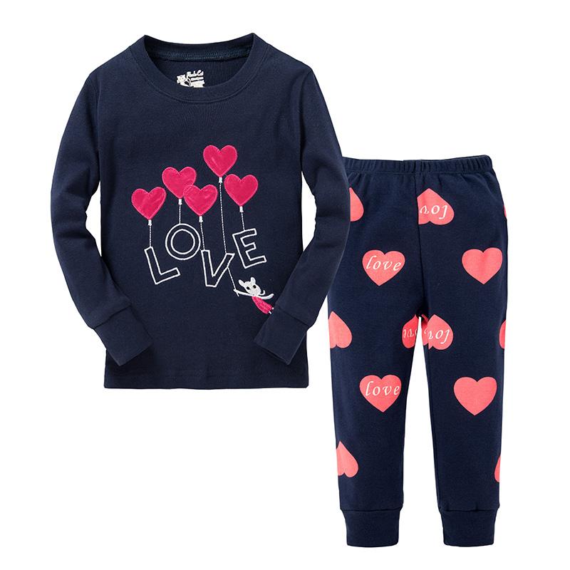 [해외]패션 새로운 귀여운 소녀 사랑스러운 하트 잠옷 잠옷 아동 P..