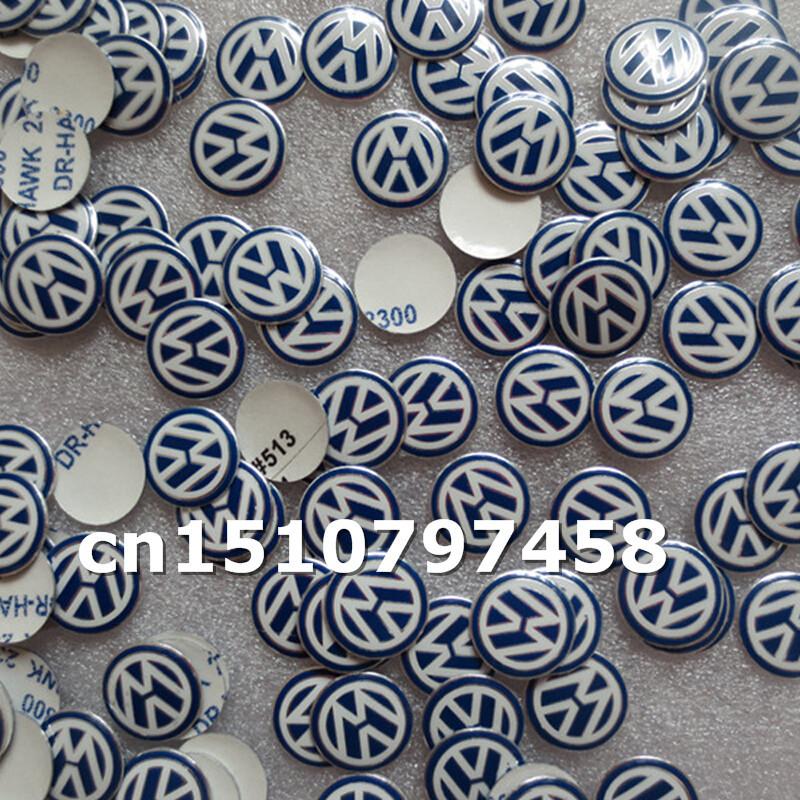 Car styling 1000pcs blue black aluminum 14mm Remote Key Fob Logo Badge Emblem For Volkswagen VW