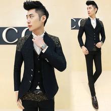 Blazers Mens Slim Fit New Arrivals 2016 Mandarin Collar Blazer Fashion Black Blazers Mens Gold Print Suits Mens Prom New Baroque(China (Mainland))
