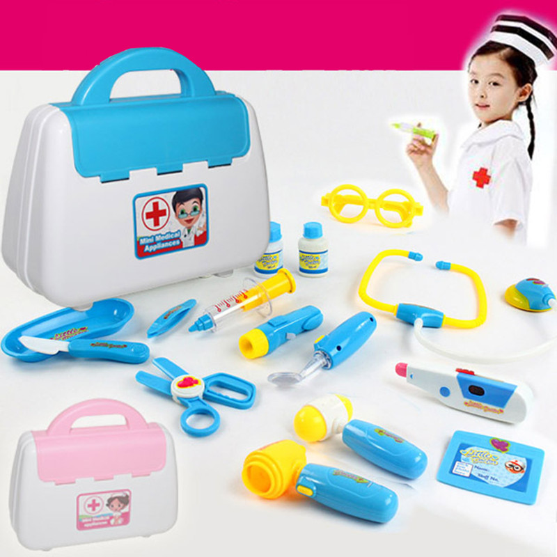 22*9*19CM Kids Play House Plastic Toys Doctor Set Baby Toys Play Set Simulation Medicine Box Doctor Toys Stethoscope Injections(China (Mainland))