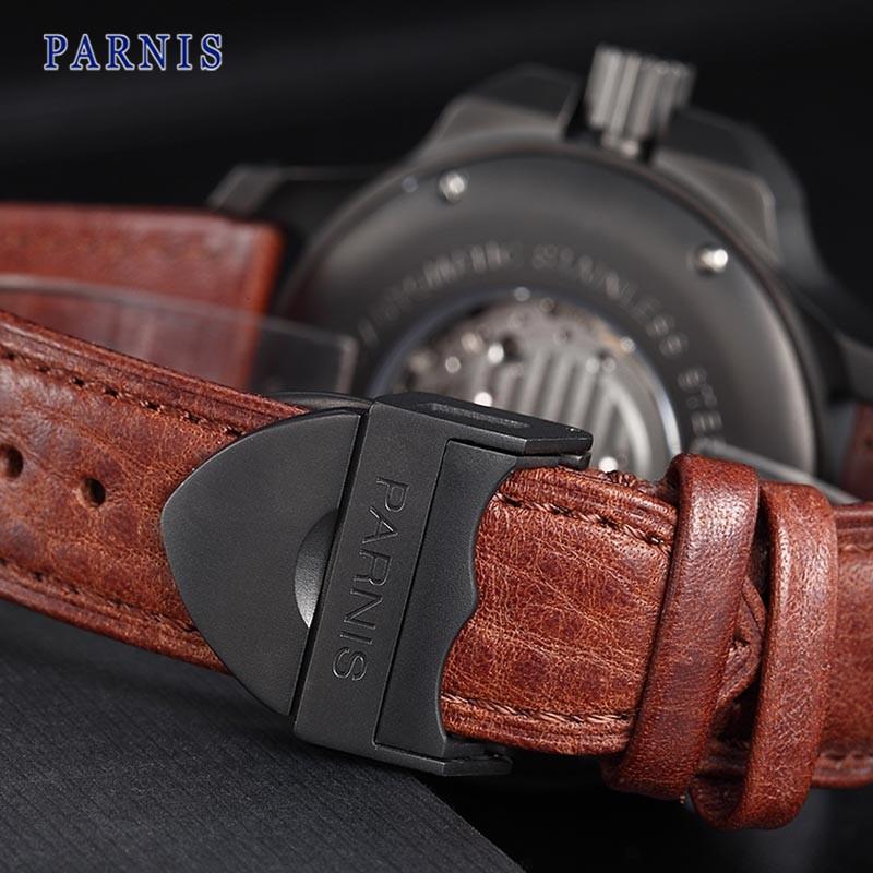 47 мм Parnis Часы Сапфировое стекло Черный Циферблат PVD Дело Кожаный Ремешок Мужчины Автоматическая Наручные Часы