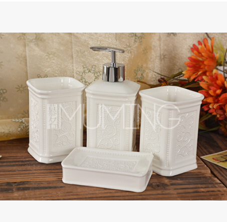European ceramics five piece bathroom bathroom toothbrush suit wash gargle cup China Bathroom Set(China (Mainland))