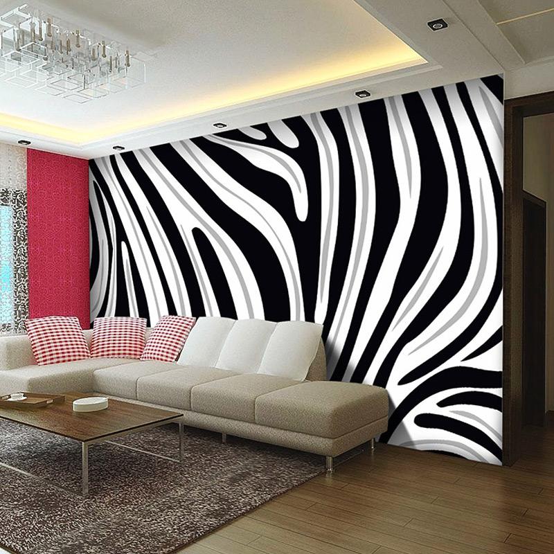 Promoci n de sala de cebra compra sala de cebra - Papel de pared blanco y negro ...