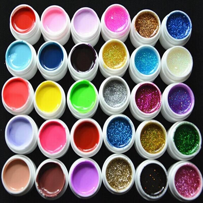Fashion Nail Varnish mix 30 Colors Manicure nail art UV Gel set Builder Glitter Tools - HeHui E Shop store