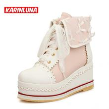 Invierno de las mujeres de Seis Colores Tamaño Grande 34-43 Botas de Nieve de Moda Plataformas Ruffles Casual Cuñas Zapatos de Tacones Altos Botines(China (Mainland))