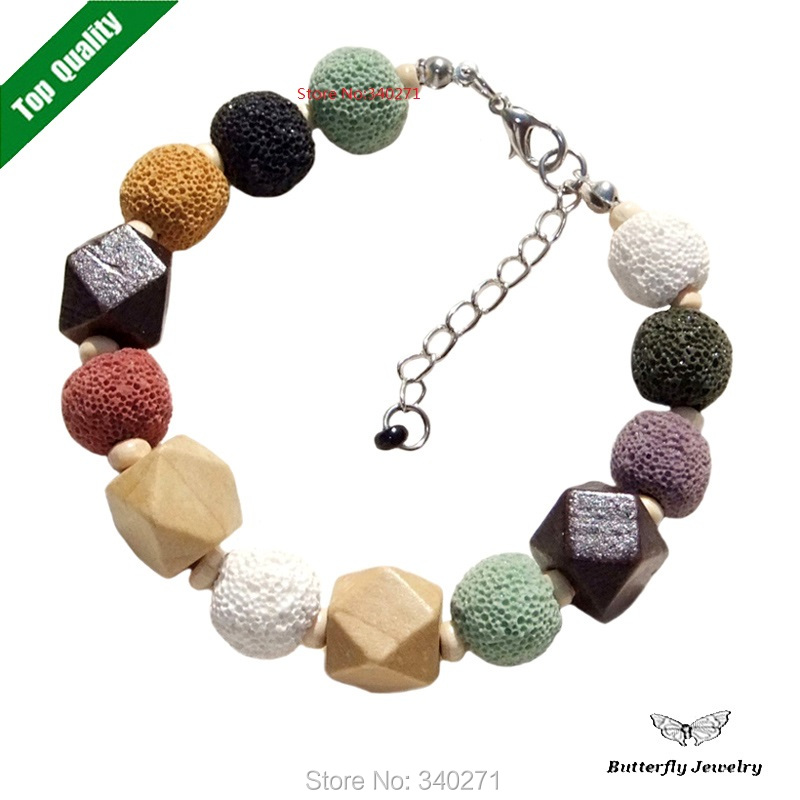 Fashion Handmade Volcano stone Charm Bracelet Women Lady Natural Stone Wood Beads Beaded Bangles - Butterfly Jewelry Co., Ltd store