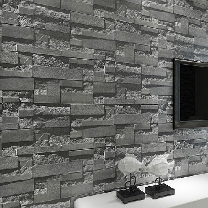 Buy modern stacked brick 3d stone Grey wallpaper living room