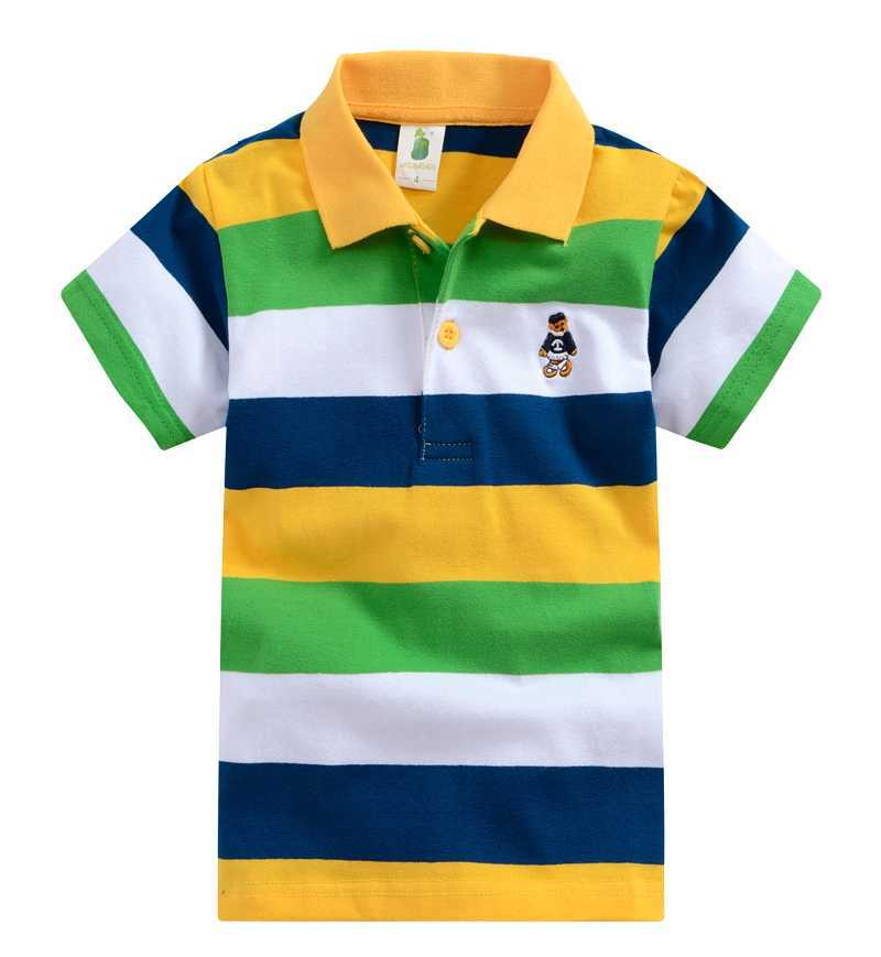 2-8Y boys t-shirt Baby Clothing Litle boy Summer t shirts tees Cotton Stripes striped Polo shirt Girl solid color tees(China (Mainland))