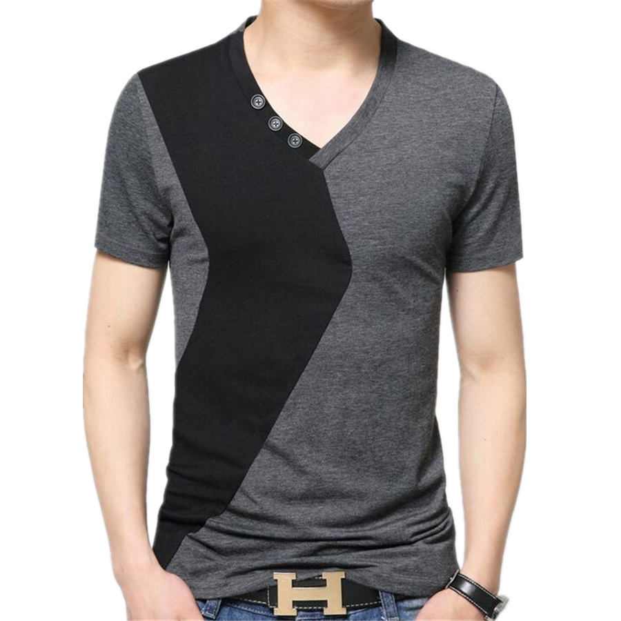Mens patchwork v neck t shirts luxury casual slim fit for Luxury mens t shirts