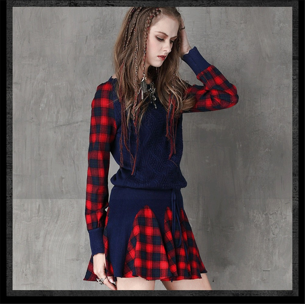 Vintage Wool WINTER DRESS 2016 Casual Knitting Long Sleeve Women Dress Plaid Sashes Patchwork Sweater Dress Woman O-neck Vestido (12)