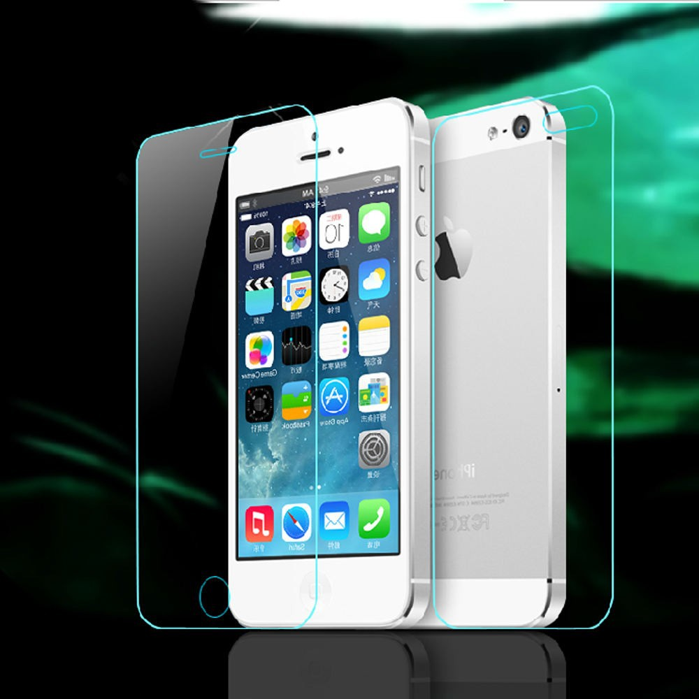 Front + Back Tempered Glass For iPhone 4 4S 5 5S 5C 6 6S 6plus 6splus ReaL Screen Protector Anti Shatter Film Case Cover Skin
