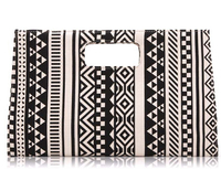 1pcs/lot free shipping woman black and white geometric canvas Clutch Handbag evening party clutch biefcase bags