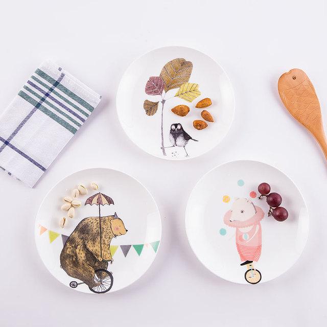 Творческий западная еда блюдо пластина костяного фарфора посуда керамика пластины мультфильм животных завтрак фрукты стейк блюда из пасты