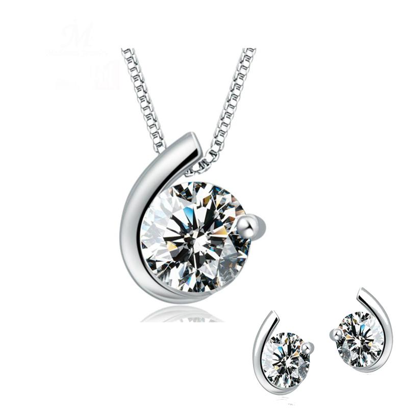 New Luxury Austrian Crystal Inlaid Moon Design Silver Plated Women Stud Earrings Pendant Set Silver Plated Jewelry Set For Women(China (Mainland))